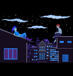 Two guys sitting on the roof at night vector image