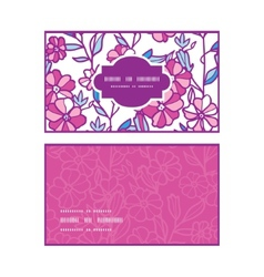 Vibrant field flowers horizontal frame pattern vector