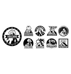 Volcano logo set simple style vector
