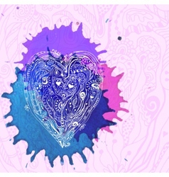 Watercolor abstract design with doodle heart vector
