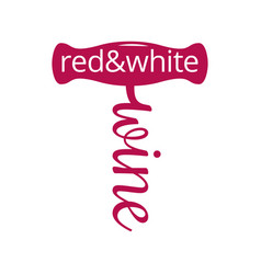 wine corkscrew logo red and white wine concept on vector image