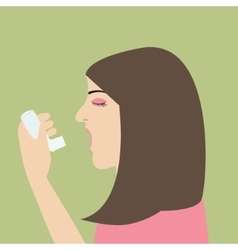 woman asthma holding inhaler illnes cartoon vector image