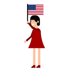 Woman holding the united states flag vector