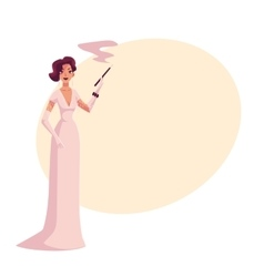 Woman in 1920s evening dress and gloves vector