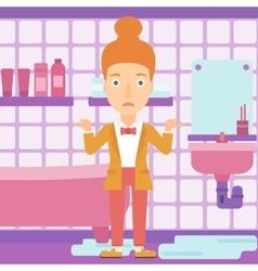 Woman in despair standing near leaking sink vector