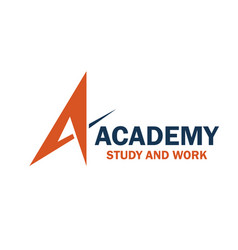 Work and study academy emblem vector
