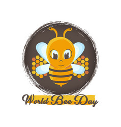World bee day with bee and grunge background vector
