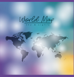 world map sky and lights in degraded colorful vector image