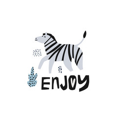zebra flat hand drawn vector image