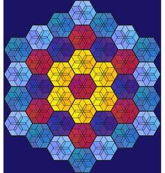Blue hexagonal stained-glass window vector image