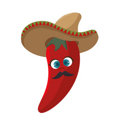 cartoon red hot chili pepper with mexican hat vector image