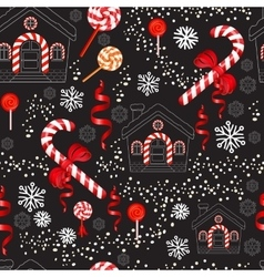 Christmas candy cane with red bow lollipop house vector
