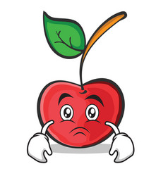 sad face cherry character cartoon style vector image vector image