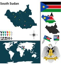 South Sudan map world vector image