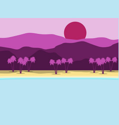 tropical landscape coast with palm trees vector image vector image