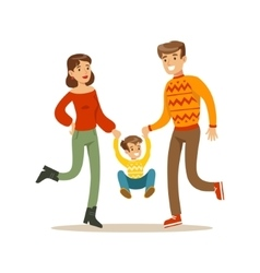 Parents Holding Hands With Kid Happy Family vector image vector image