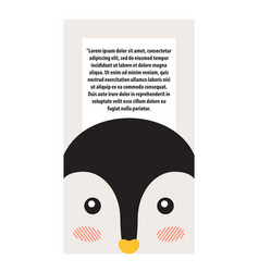 penguin animal cover and text vector image vector image