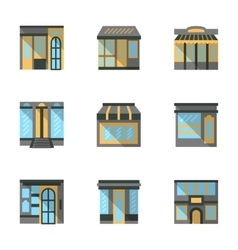 Store facades flat icons vector image
