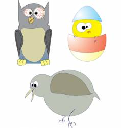 three crazy birds vector image