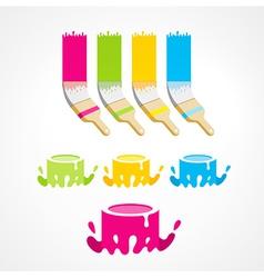 Brush bucket colored set vector