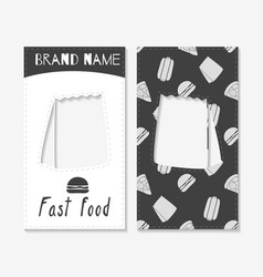 Fast food business cards vector
