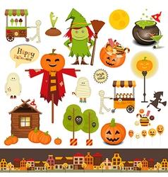 halloween symbols on white vector image vector image