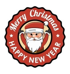 label merry christmas happy new year happy santa vector image