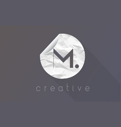 m letter logo with crumpled and torn wrapping vector image vector image