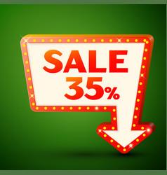 Retro billboard with sale 35 percent discounts vector