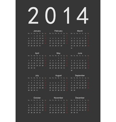 Simple black calendar 2014 vector image vector image