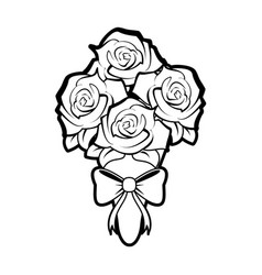 sketch silhouette image wedding bouquet of roses vector image vector image
