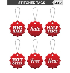Stitched tags Set 7 vector image