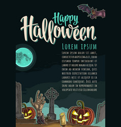 vertical poster with happy halloween calligraphy vector image vector image