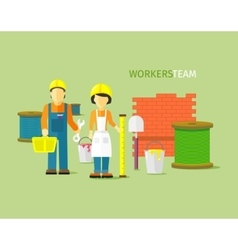 Workers team people group flat style vector
