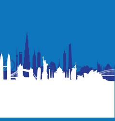 blue cityscape background vector image vector image