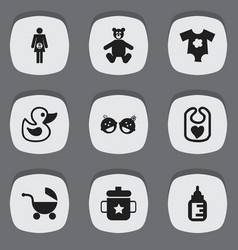 set of 9 editable baby icons includes symbols vector image vector image
