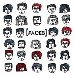 set of cartoon faces vector image