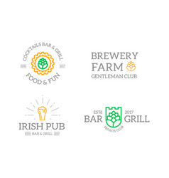 set of retro vintage beer and alcohol hop mug vector image vector image