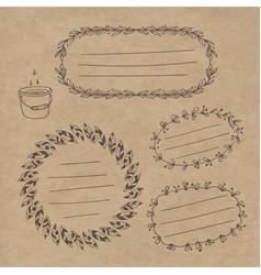 set wreaths labels vector image vector image