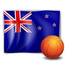A ball in front of the flag of New Zealand vector
