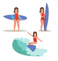 a set of images of female surfer vector image