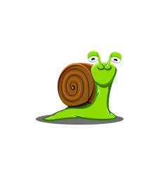 a shy snail is a cute a cartoon vector image