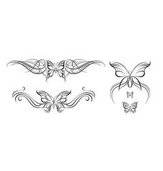 abstract butterflies symmetrical tattoos vector image