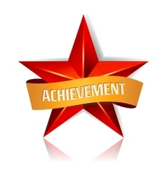 Achievement star with yellow ribbon red vector