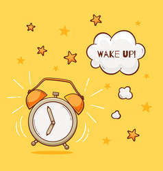 alarm clock with wake up sign vector image