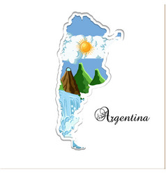 Argentina map paper cutting silhouette with its vector