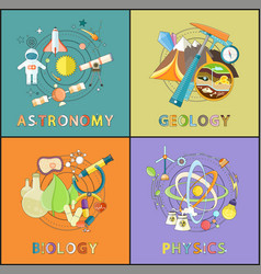 Astronomy physics geology biology graphics vector