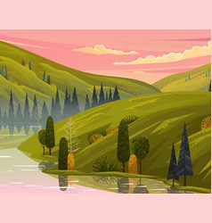 beautiful evening landscape with pink clouded sky vector image
