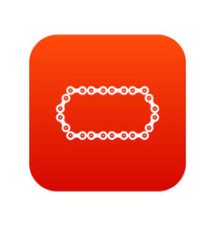Bicycle chain icon digital red vector
