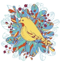Bird and leaves vector